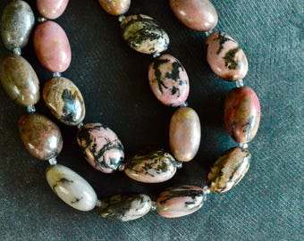 16mm Rhodonite Stone Bead, Tumbled Gemstone (5 beads) Gemstone Beads Rhodonite Beads Pink Black Gemstone, Natural Pink Gemstone