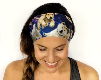 Space Puppies Headband - Dog Headband - Workout Headband - Running - Fitness - Nonslip - Dog Lover