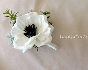 Anemone Boutonniere, Real Touch Boutonniere, White Boutonniere, Grooms Boutonniere, Boutonniere, Wedding Boutonniere