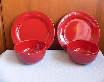FREE SHIPPING**** Waechtersbach of West Germany Pair of Red Fun Factory Bowls & Waechtersbach plates   Etsy