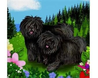 Black PULI DOGS Mountain Meadow Garss Art Ceramic Tile Coaster