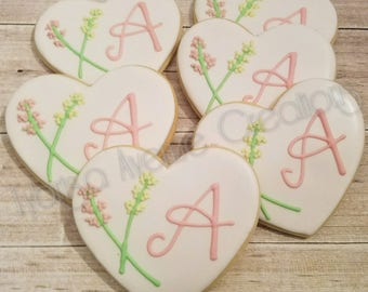 12 Bridal Shower Sugar Cookies - Heart Monogram Sugar Cookies - Wedding Shower Guest Favors - Wedding Favors - Monogram Heart Cookies
