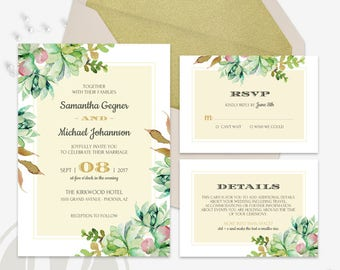 Succulent Wedding Invitation - Cactus Wedding Invitation, Wedding Invitation Set, Instant Download, Invitation Suite, RSVP Card