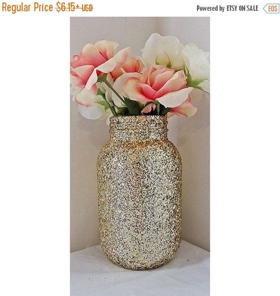 Gold Mason Jar Centerpiece, Baby Shower Ideas, Baby Shower Decorations,  Wedding, Wedding Decorations, Wedding Centerpieces, Party Supplies
