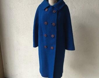 60s Indigo Blue Wool Peacoat Coat