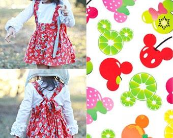 Mickey & Minnie Fruits: Bow Back Suspender Skirt (6M-14Yrs) Big Bow Headband. Disney. Button Down. Spring Summer