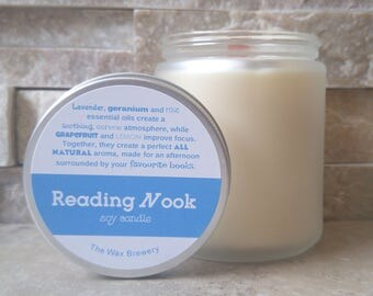 Reading Nook Natural Soy Scented Candle- 8 oz Essential Oil Candle