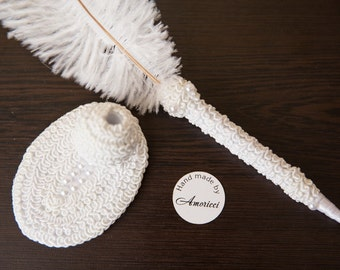 Large Ostrich Feather Pen with Pearl Brooch Feather Pen/ Wedding Signing Pen  Guest Book Pen Wedding Reception Accessories