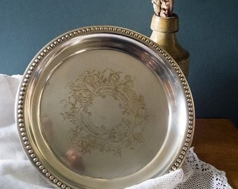 Vintage Silver plated engraved tray, small serving tray,English, kitchen and dining,shabby chic,classical table setting, charming