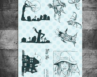 Halloween stamps, zombie stamps, graveyard stamps,  haunted house stamps, bat stamps, witch stamps, Rubber Stamps by Starving Artistamps