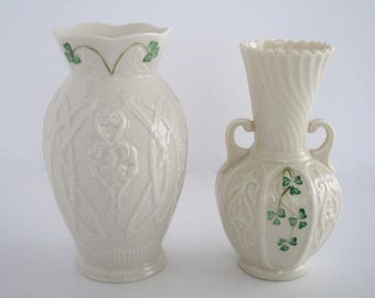 Belleek Irish Durham Vase, Signed by Leona McCauley,  Exclusive to Canada & Small two handled vase
