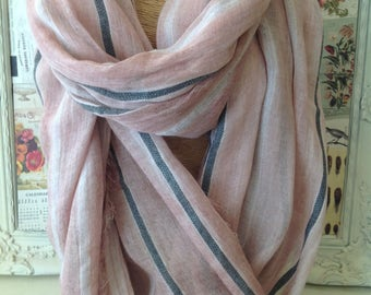 Rose pink modal scarf with charcoal stripe