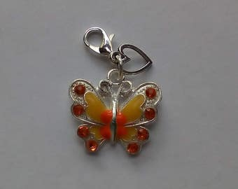 Enamel yellow and orange butterfly metal charm clip on lobster clasp, charm bracelets, zip pull