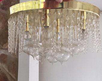 Vintage Italian Murano bubble Glass and swirl stick Mid Century Modern Chandelier