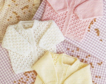 "Baby Knitting Pattern pdf Double Knit Lacy Cardigans 16-24""pdf"