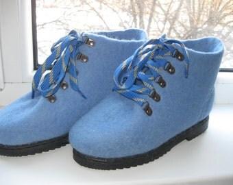 Demi-season shoes. Felted shoes. Shoes .Zhenskaya handmade shoes.