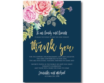 Floral Wedding Thank You Note, Watercolor Wedding, Watercolor Floral, Gold Glitter, Thank You Note, Wedding Thanks, Thank You Card #CL322