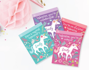 Unicorn Valentines Day Cards - printable DIY card classroom, Valentine printable custom text, print for kids classroom, Valentine's Unicorn