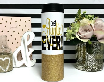 Best Auntie Ever Mug - Aunt Coffee mug - travel mug - Gift for auntie - new aunt gift - announce pregnancy - glitter mugs - stainless steel