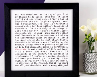 Chocolate Print; Love Chocolate Print; Chocolate Lover Gift; Gift For Mum; Gift For Friend; AP124