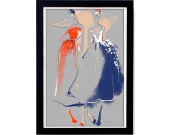 Carolina Herrera fashion illustration print #2 - Poster art sketch on grey textured paper - Digitally colored contemporary interior art