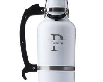 Glacier White Monogrammed DrinkTanks® 64 oz. Insulated Growler - Monogrammed Beer Growler - Insulated Growler - Groomsmen Gifts - GC1554