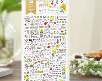 Drawing Love Sticker   Sonia Design Stickers, Korean Cute Stickers, Unique Craft Supplies and Card Making Materials (2027)