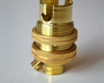 Small brass bayonet B15 fitting bulb holder earthed with shade ring 10MM L5