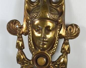 Original vintage Art nouveau brass bell push door bell push button ladies head