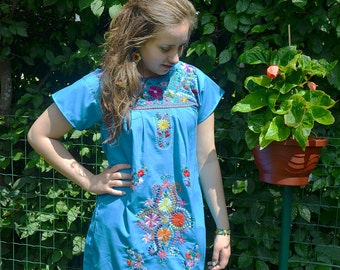S-M blue Mexican HANDMADE embroidered DRESS size small-medium, 100% Cotton dress, tribal dress, boho dress, ethnic dress