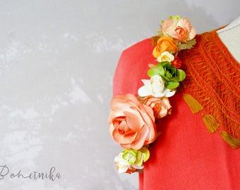 Spring Flower Crown, Paper Flower Halo, Flowergirl hairpiece, hippie floral crown, Newborn Photo Prop, boho Crown, Floral Hairpiece