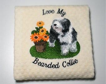 "Bearded Collie Towel, Bearded Collie Gift, Bearded Collie Decor, Dish Towel, Bearded Collie Lover, Hostess Gift, Birthday Gift  ""Delight"""