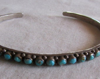 Zuni Turquoise and Sterling Silver Row Bracelet