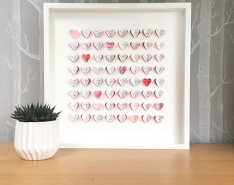 Guest book alternative. Guest book wedding. Pink and red. 64 hearts - MEDIUM SIZE. Wedding gift. Personalised guest book. Modern wedding.