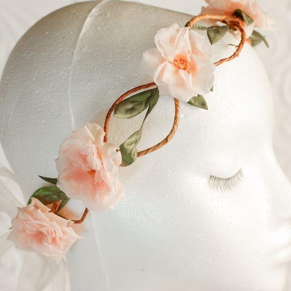 Flower crown, vine and blush rose flower halo, hair flowers, flower girl, bride, wedding flowers, boho , preserved flowers, dried flowers,