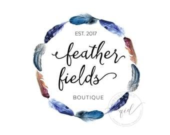 Premade Feather Logo, circle feather branding, boho marketing kit, fashion logo, bohemian logo design, hippy invitation wedding logo