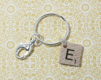 Scrabble Letter Keychain - Scrabble Tile - Key Ring - Book Lover Keychain - (F5807)