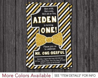 Mr. ONEderful Birthday Invitation - Mr One-derful Bowtie Birthday Invitations - First Birthday Invite