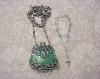 Green Enamel Crystal Purse Locket Necklace w/ Tiny One Decade Green Sterling Silver Swarovski Crystal Rosary