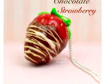 Chocolate Covered Strawberry Charm Pendant Miniature Food Jewelry Polymer Clay Handmade Gift Girl Valentine's Necklace