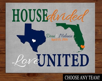 HOUSE DIVIDED Love United, Couples Spirit Print, Sports Rivalries, Rival Team Football Basketball Baseball Sports Rivalry CANVAS or Print