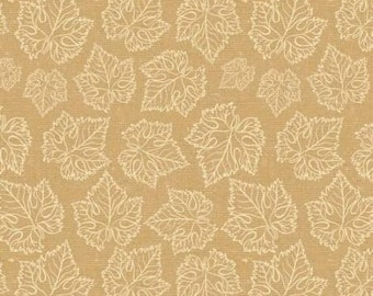 "Tonal Grape Leaves Beige by David Textiles Wine Splendor Collection 44"" Quilting Cotton"