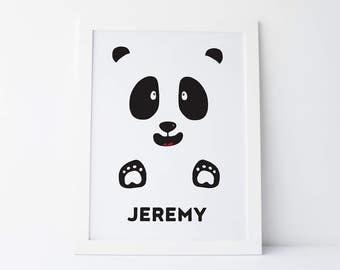 Panda nursery print - panda art print - panda printable - printable art - wall art - digital art print - custom name