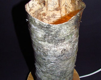 Table lamp made of birch bark