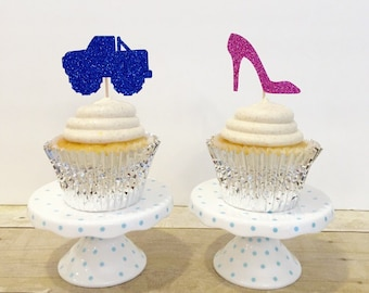 Heels or Wheels Cupcake Toppers / Gender Reveal / Set of 12