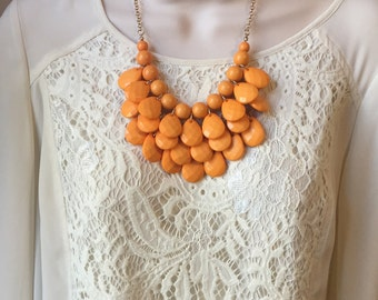 Light  Coral Peach Bubble Bib Beaded Chandelier Layered Statement Necklace