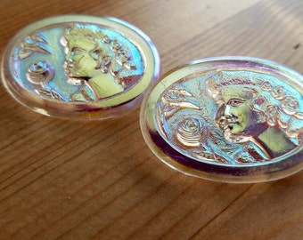 Vintage Czech glass irridescent lady and the roses. Lot of 2. (Jan33)