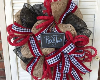 Alabama Wreath Roll Tide Wreath Crimson Tide Wreath Alabama Decor Alabama Tailgating Decor Alabama Houndstooth Wreath March Madness Bama