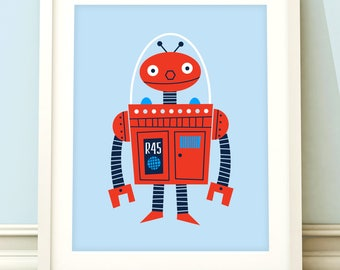 Robot nursery print, nursery art, boys robot print, robot art, robot nursery art, boys bedroom, kids room, blue room, robot decor.