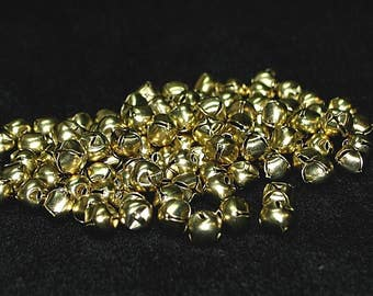 96 - tiny 6mm GOLD Jingle BELLS - holiday crafts Teeny Little Bells...